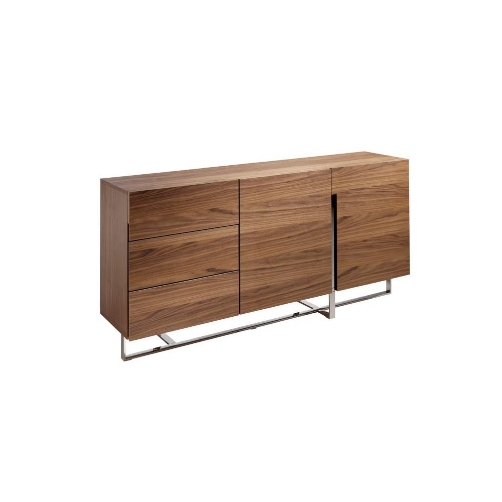 Buffet 2 portes 3 tiroirs design Bois noyer Métal chromé - Univers Salle à Manger : Tousmesmeubles