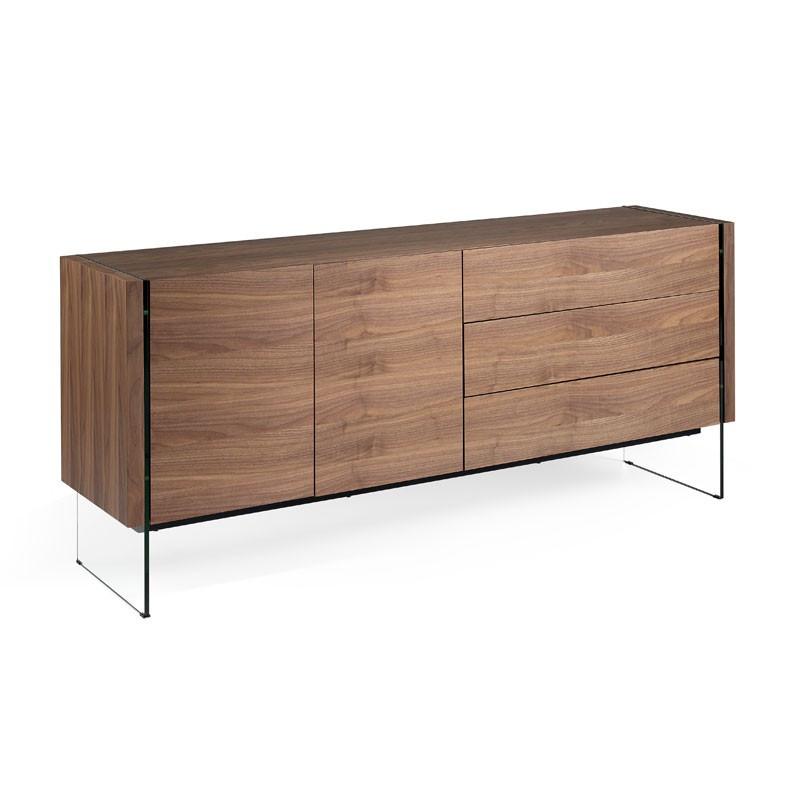 Buffet design 2 portes 3 tiroirs Bois noyer Verre - Univers Salle à Manger : Tousmesmeubles