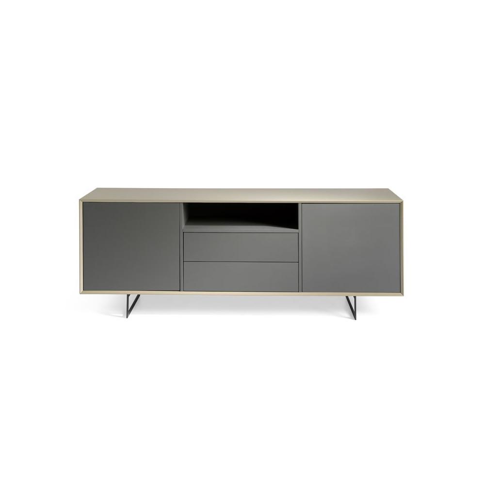 Buffet 2 portes 2 tiroirs Bois laqué gris moka Métal design - Univers Salle à Manger : Tousmesmeubles