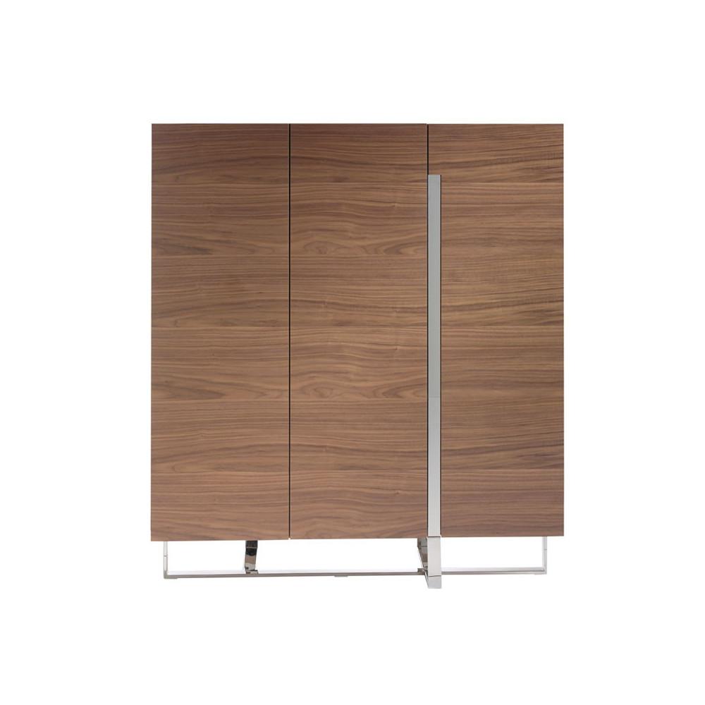 Vaisselier 3 portes design Bois noyer Métal chromé - Univers Salle à Manger : Tousmesmeubles