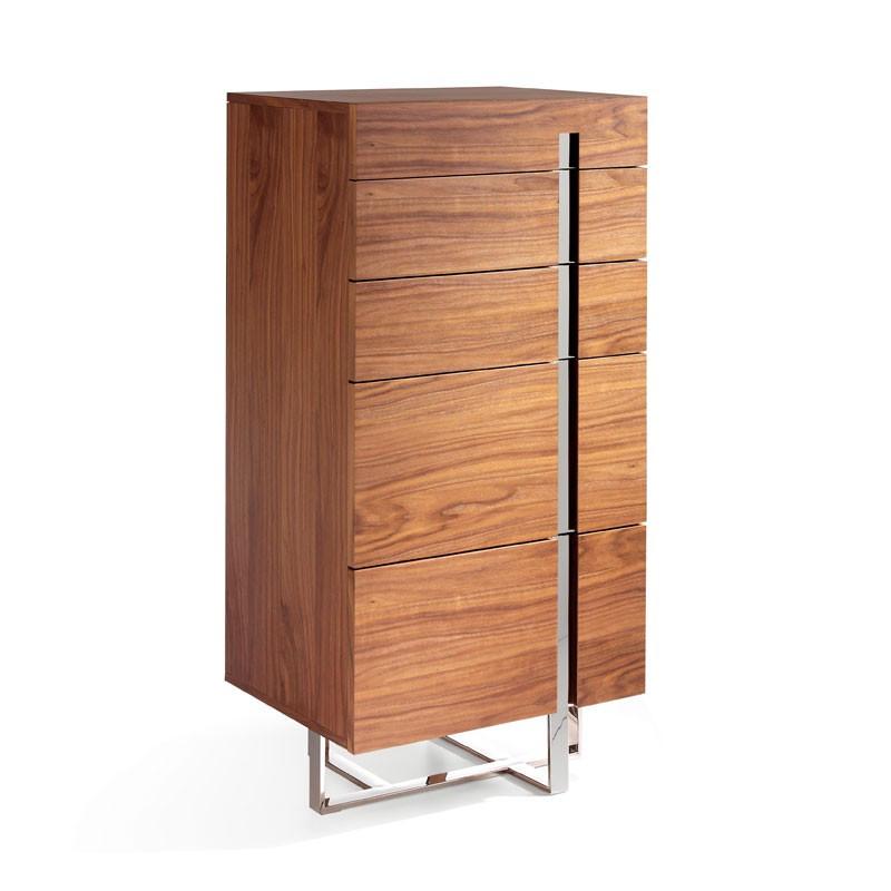 Chiffonnier 5 tiroirs design Bois noyer Métal chromé - Univers Petits Meubles : Tousmesmeubles