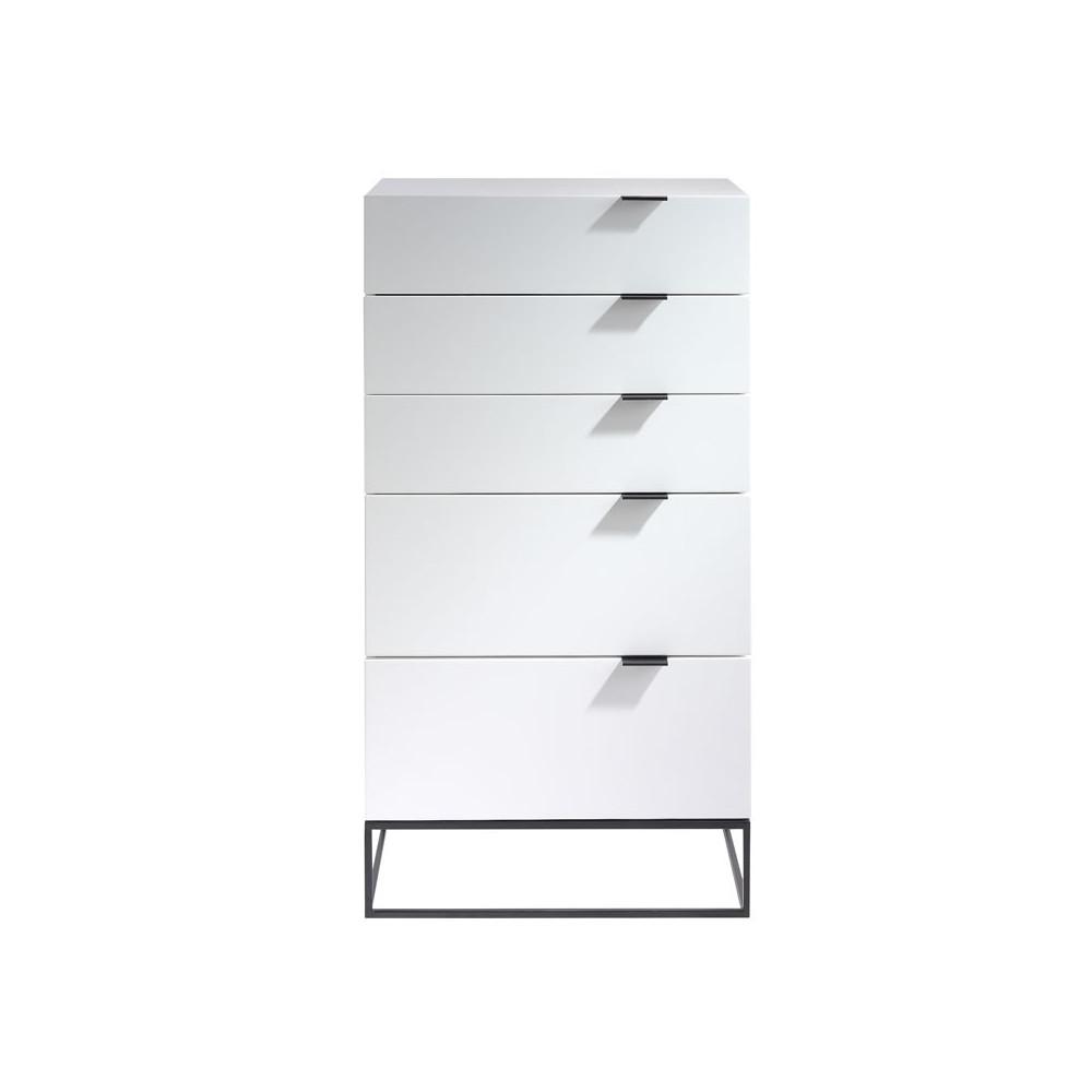 chiffonnier 5 tiroirs laqu blanc m tal onel univers petits meubles. Black Bedroom Furniture Sets. Home Design Ideas