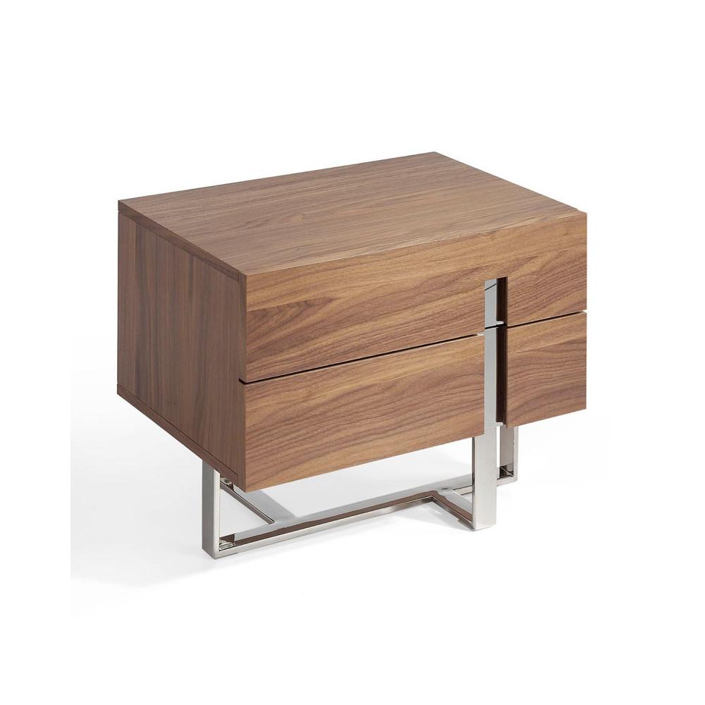 Table de chevet 2 tiroirs Bois noyer Métal chromé design - Univers Chambre : Tousmesmeubles