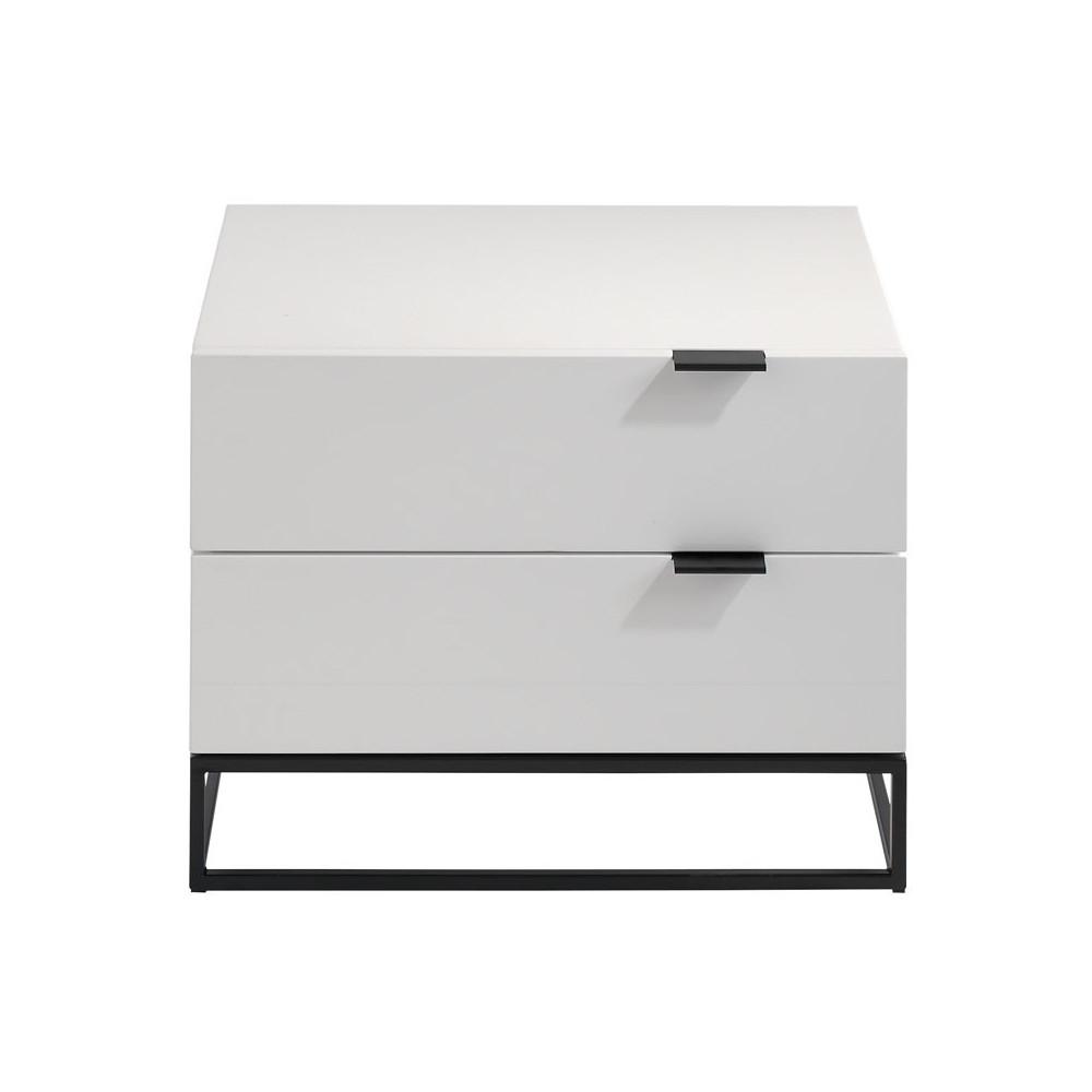 Table de chevet design 2 tiroirs Bois Laqué Blanc/Métal - Univers Chambre : Tousmesmeubles