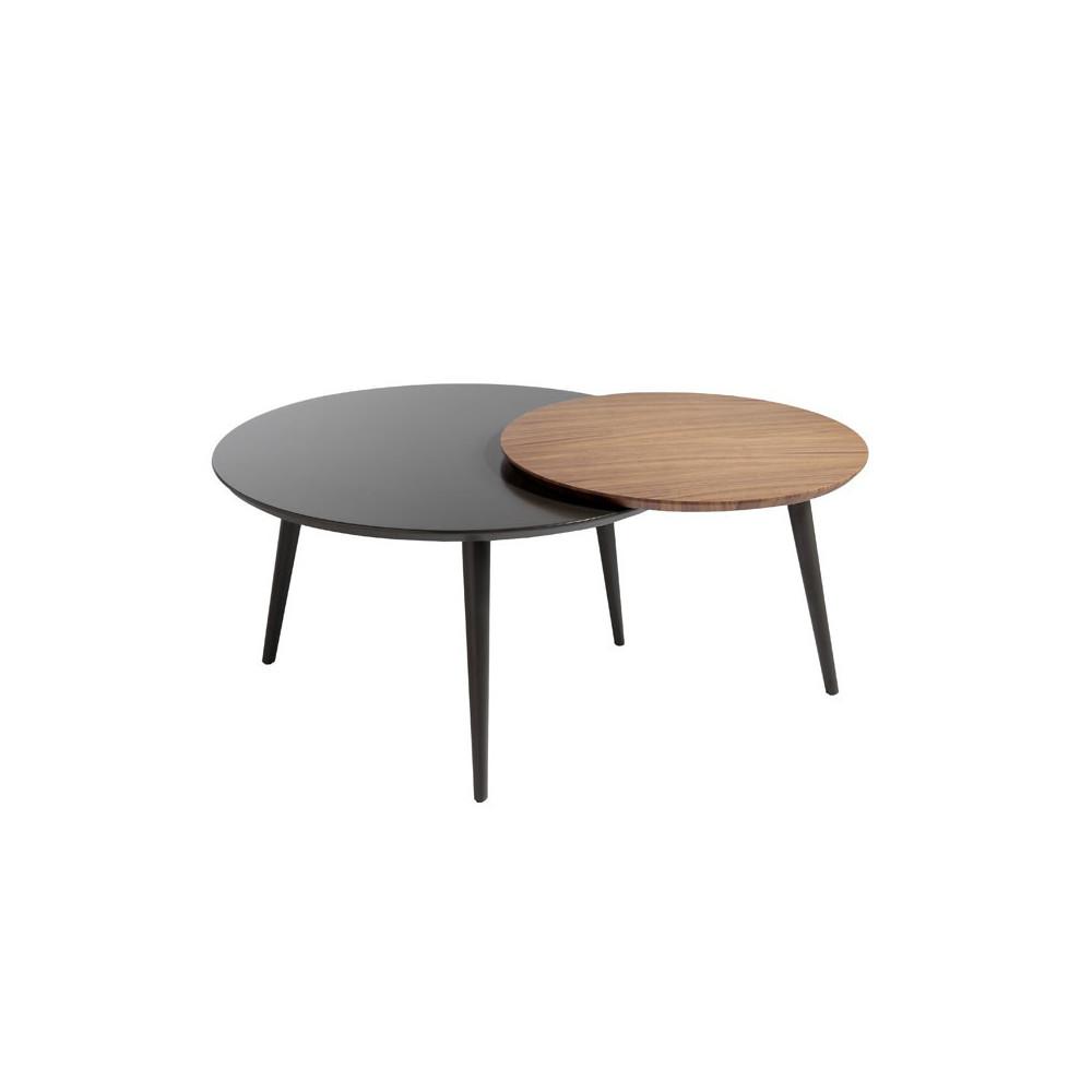 Duo de Tables basses rondes design Bois/Gris - Univers Salon : Tousmesmeubles