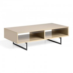Table basse 2 niches design Bois moka laqué brillant Métal - Univers Salon : Tousmesmeubles