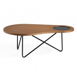 Table basse design Bois noyer Métal noir - Univers Salon : Tousmesmeubles