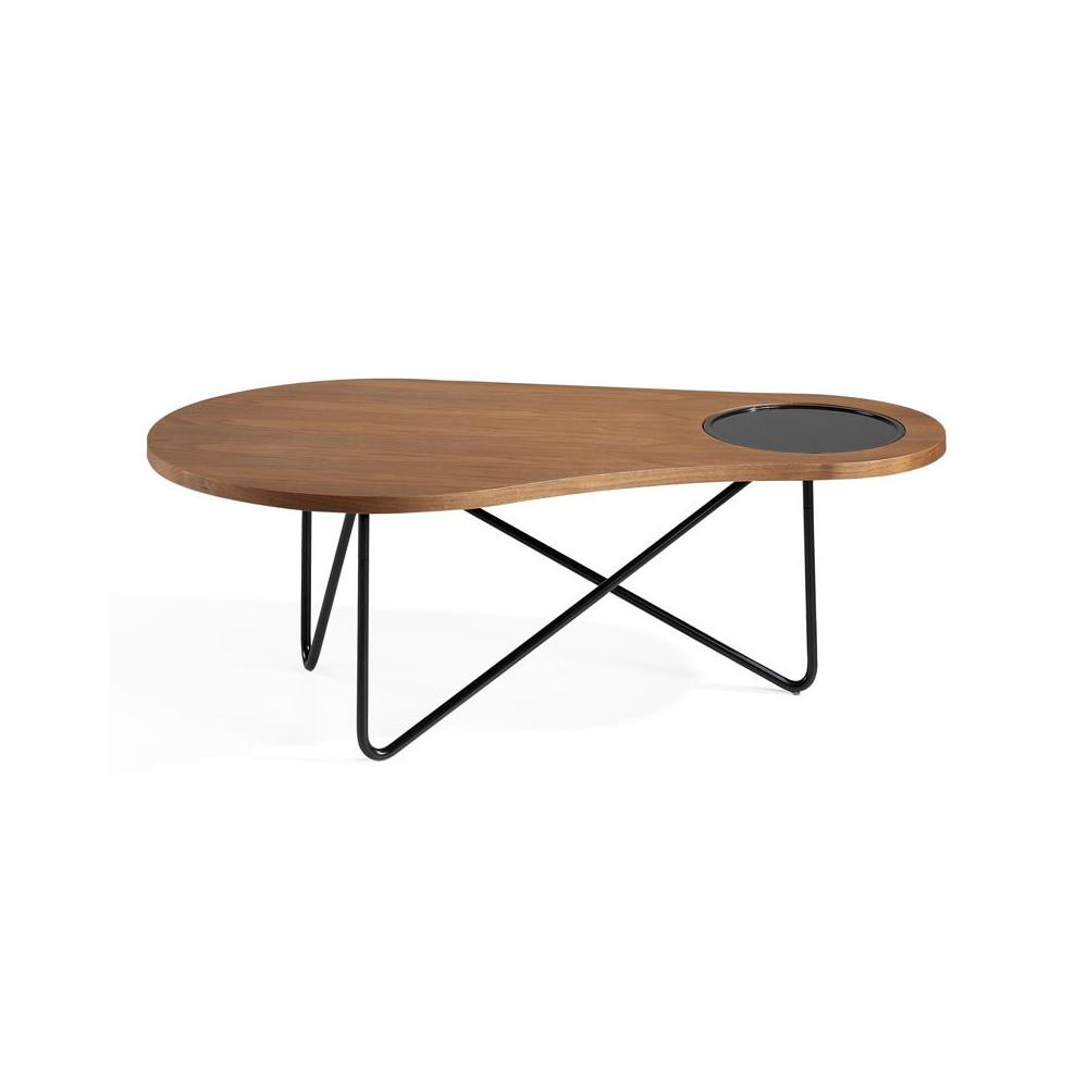 Table basse design Bois noyer Métal noir - Univers Salon : Tousmesmeubles
