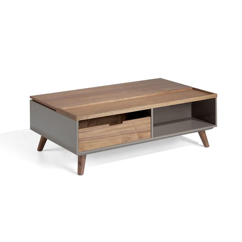 Table basse relevable 1 tiroir Noyer/Laque Moka - AMBES