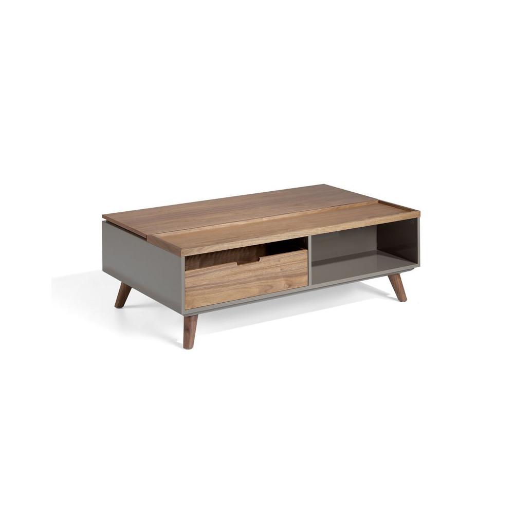 Table basse relevable 1 tiroir design Bois/Laqué Moka - Univers Salon : Tousmesmeubles