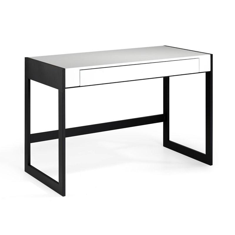 Bureau 1 tiroir design Bois Laqué Blanc/Métal - Univers Bureaux : Tousmesmeubles