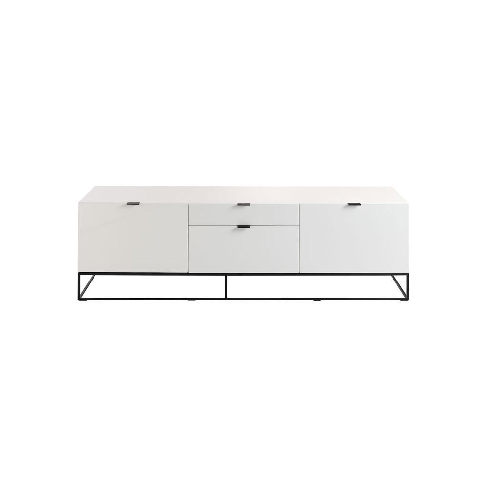 Meuble TV 2 portes 2 tiroirs Bois Laqué Blanc/Métal design - Univers Salon : Tousmesmeubles