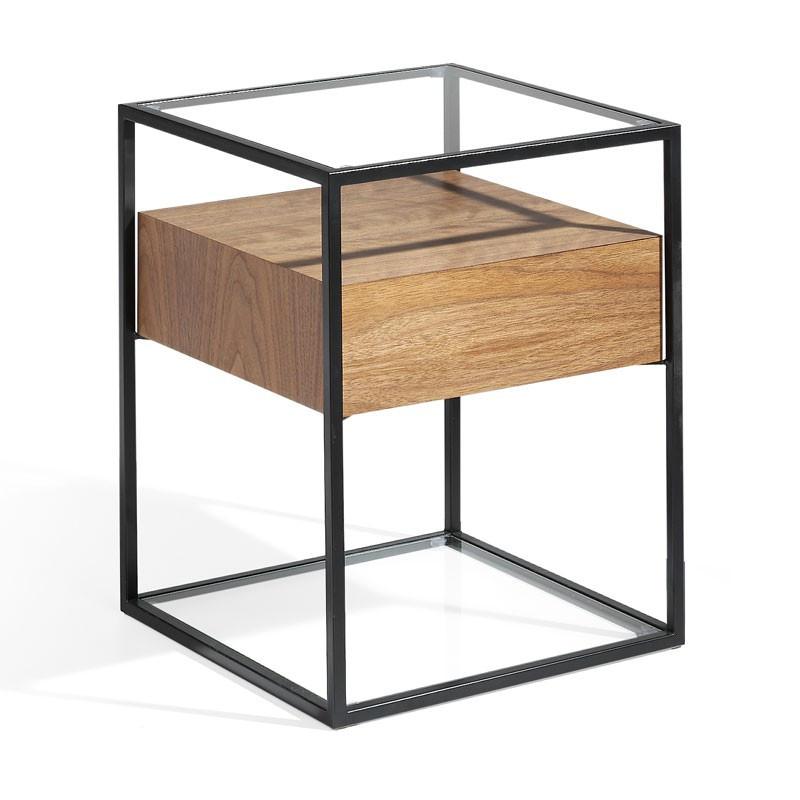 Table d'appoint 1 tiroir Métal/Verre/Noyer - LIVER