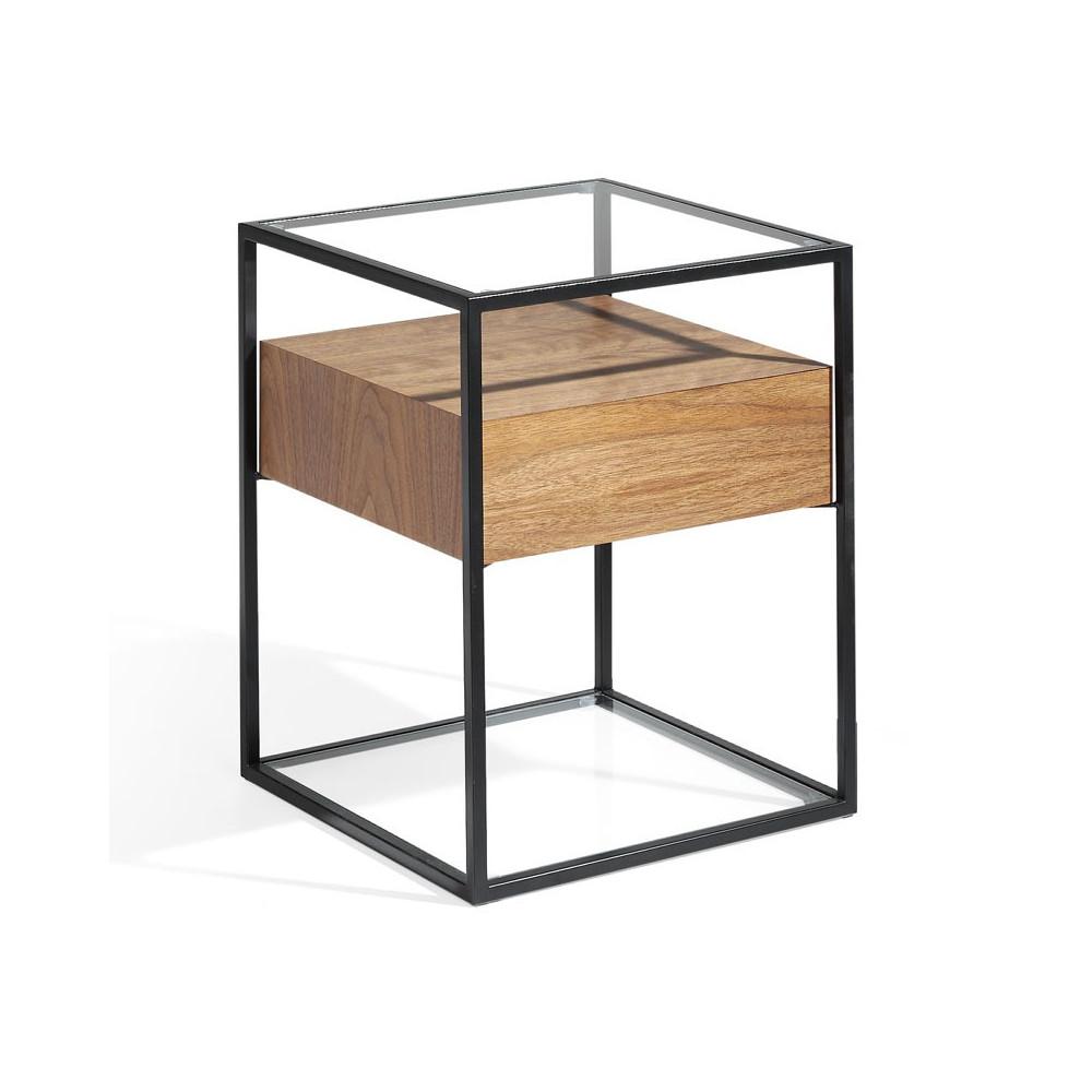 Table d'appoint 1 tiroir design Métal/Verre/Bois - Univers Petits Meubles : Tousmesmeubles