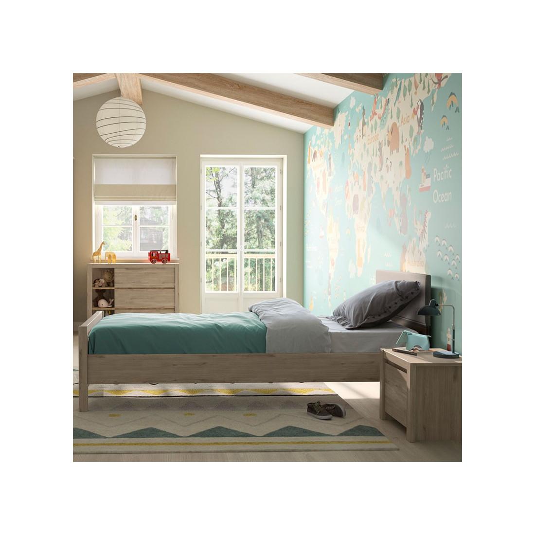 cadre t te de lit 120 190 cm ch ne clair tily univers. Black Bedroom Furniture Sets. Home Design Ideas