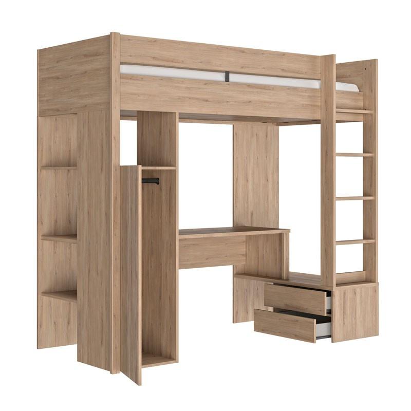 Lit mezzanine 90*200 cm Chêne clair - TILY