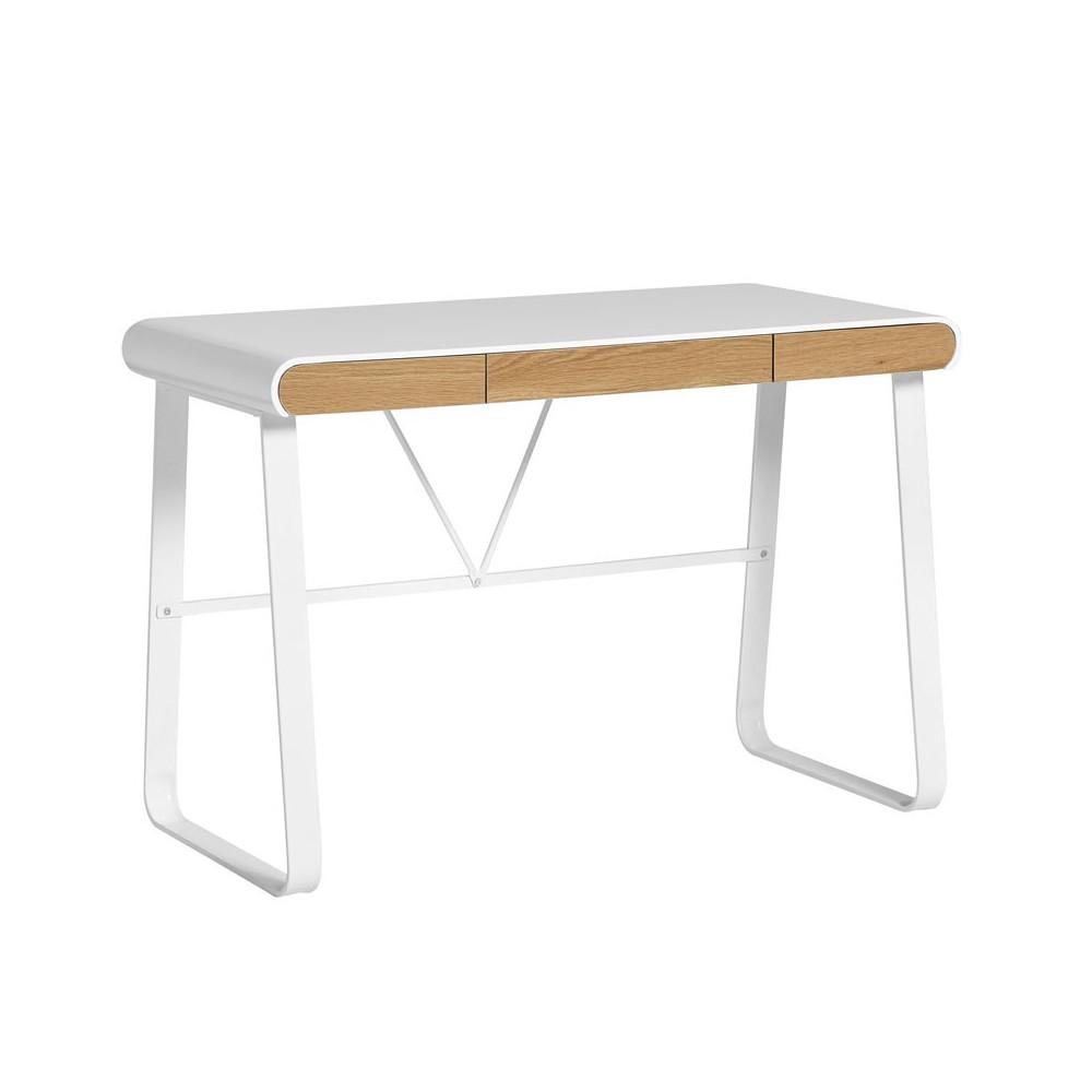 Bureau m tal blanc et tiroirs en bois lito univers du bureau - Bureau bois et blanc ...