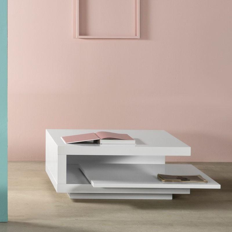 Table basse carrée Blanche laquée - CARO