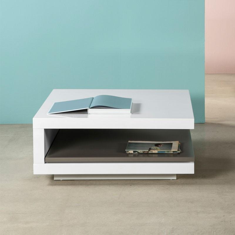 Table basse carrée Blanc/Gris - CARO