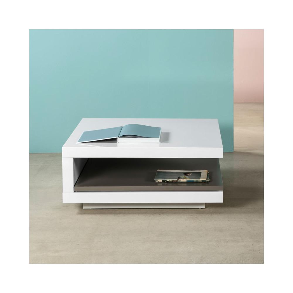 Table basse carrée Blanc/Gris- CARO