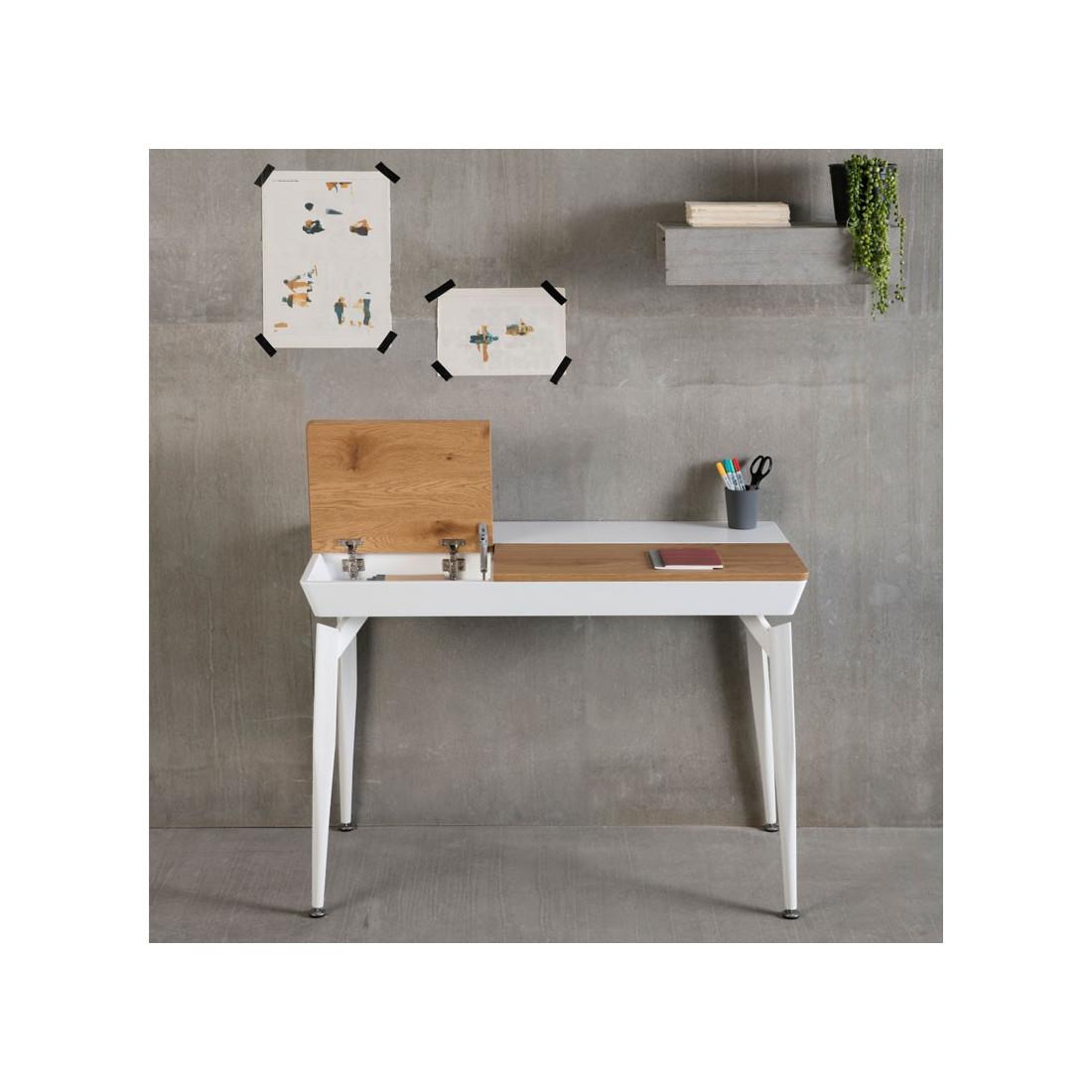 bureau blanc avec abattants en bois huelva univers du bureau. Black Bedroom Furniture Sets. Home Design Ideas