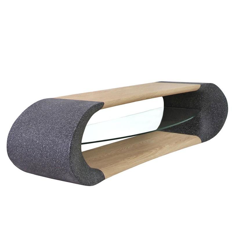 Meuble TV Granit/Bois avec plateau Verre - NALA