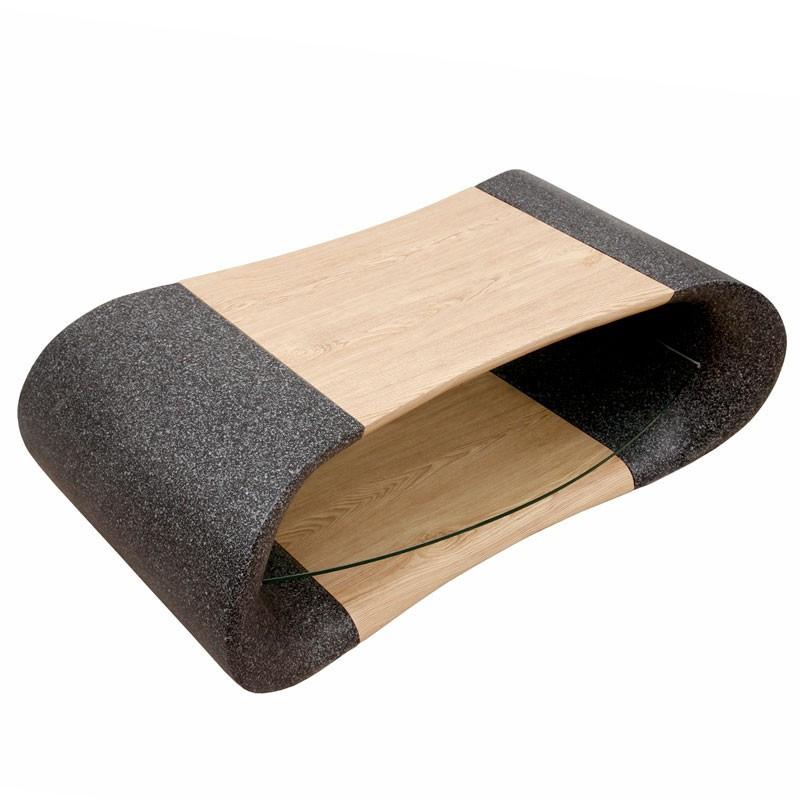 Table basse Granit/Bois avec plateau Verre - NALA