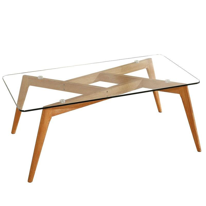 Table basse rectangulaire Verre/Bois - SAMBA