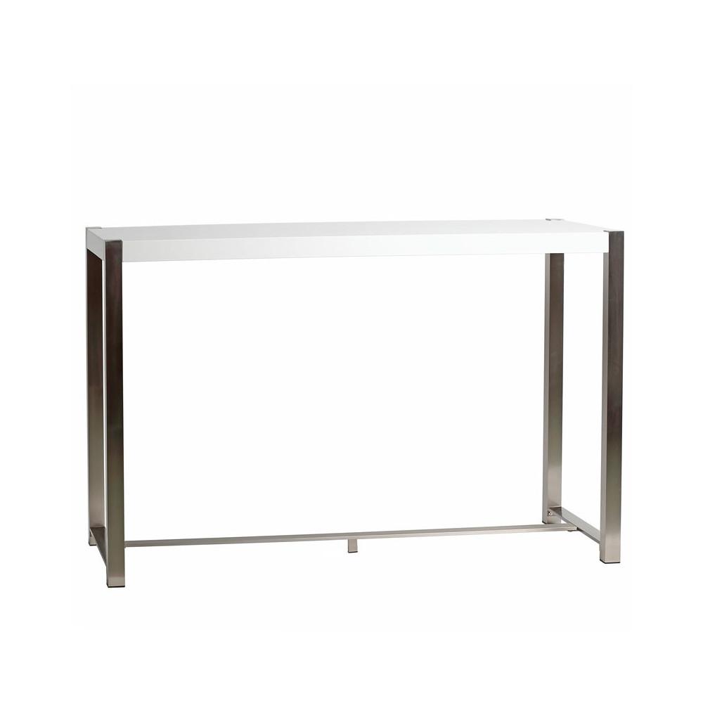 Table haute Blanche laquée et pieds Acier - BONZAÏ