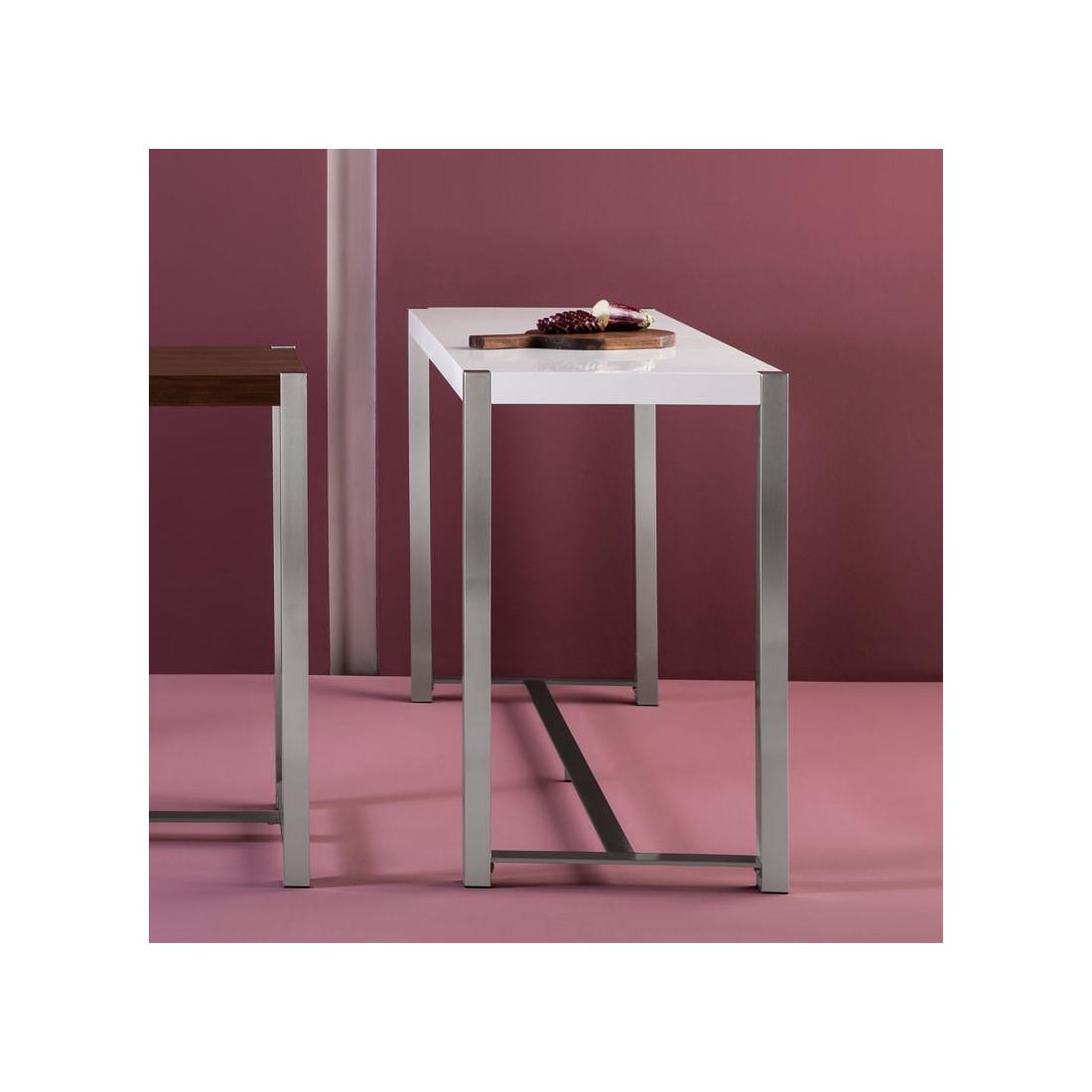 table haute blanche laqu e pieds acier bonzai univers. Black Bedroom Furniture Sets. Home Design Ideas