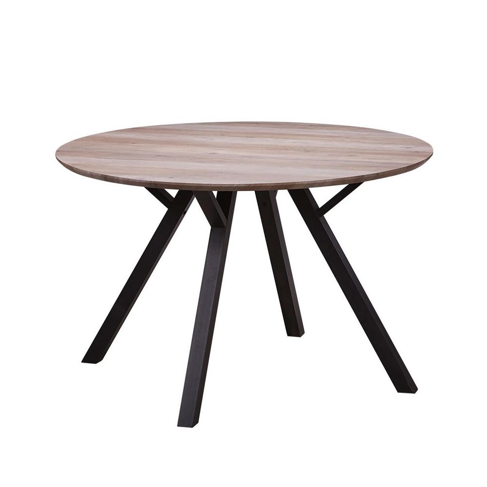 Table de repas Ronde Chêne et pieds Noirs - ALANA