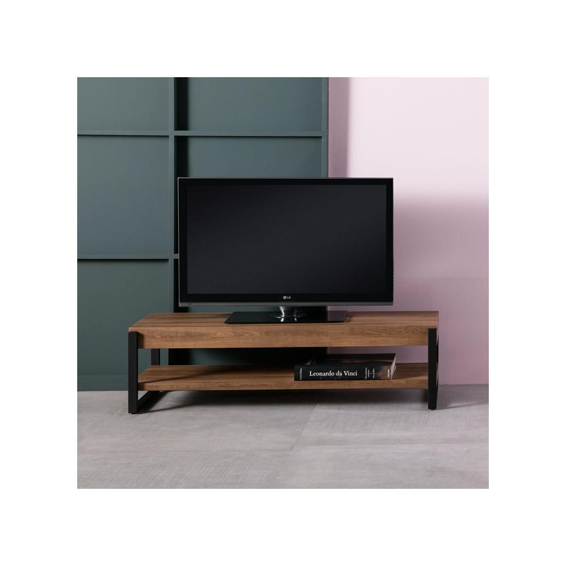 Meuble tv bois m tal noir avec sous plateau tantor univers du salon - Meuble tv bois noir ...
