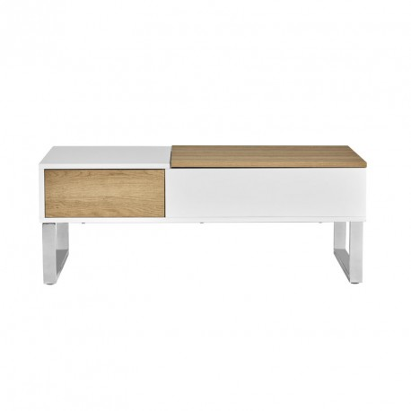Table basse relevable Blanc/Bois - PIERRE