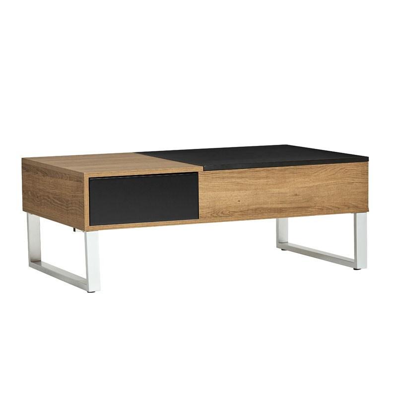 Table basse relevable Bois/Noir - PIERRE