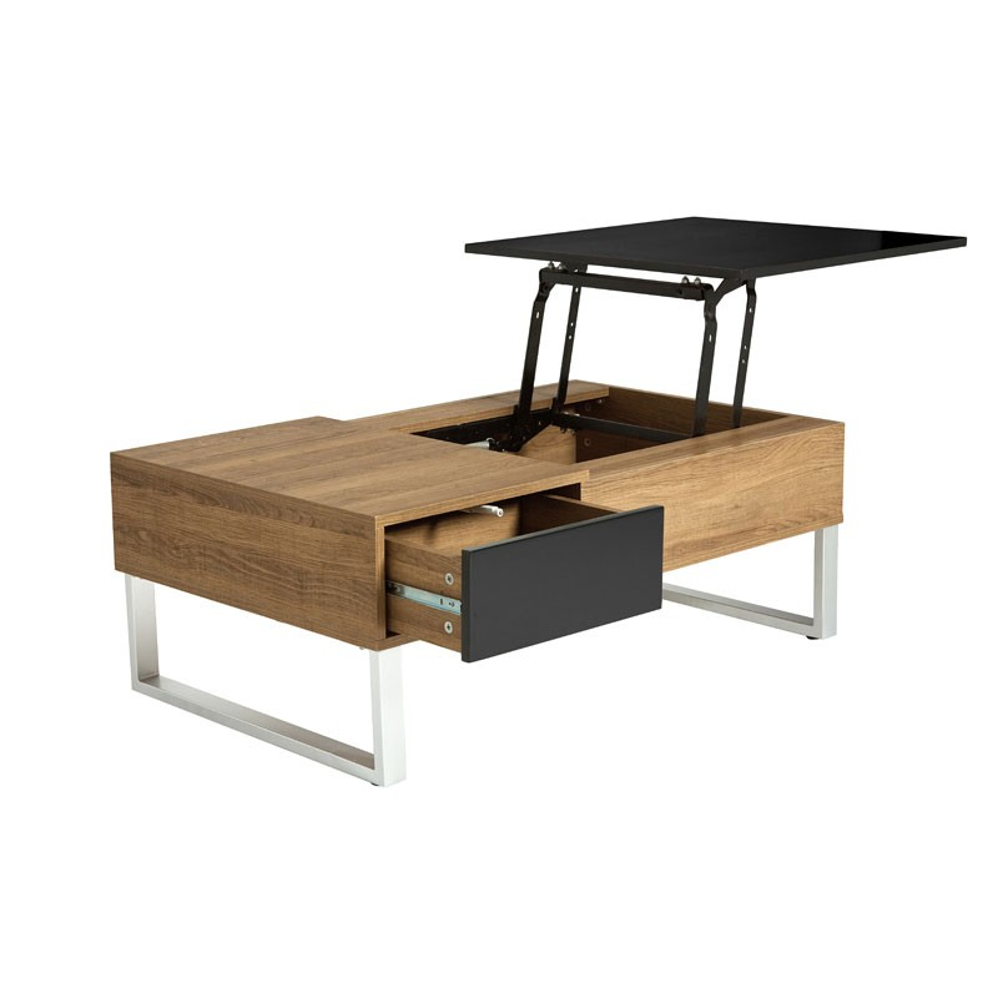 table basse relevable bois noir 2 tiroirs pierre univers. Black Bedroom Furniture Sets. Home Design Ideas