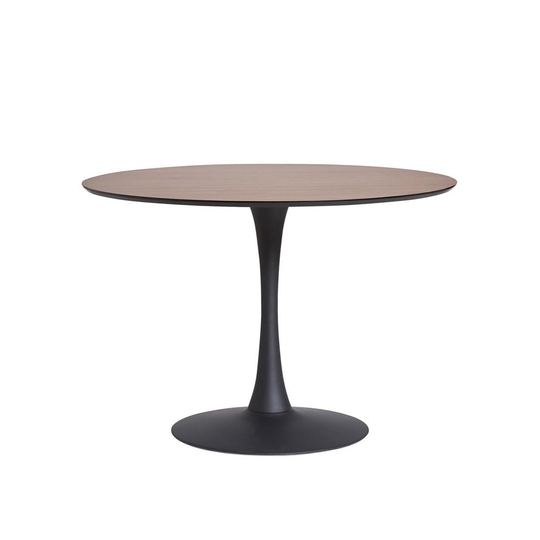 Table ronde noyer noir pied central still univers salle Table salle a manger pied central
