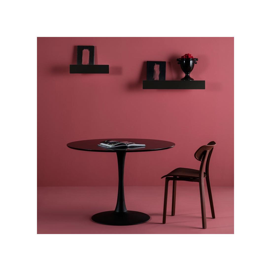 table de repas ronde noire pied central still univers salle manger. Black Bedroom Furniture Sets. Home Design Ideas