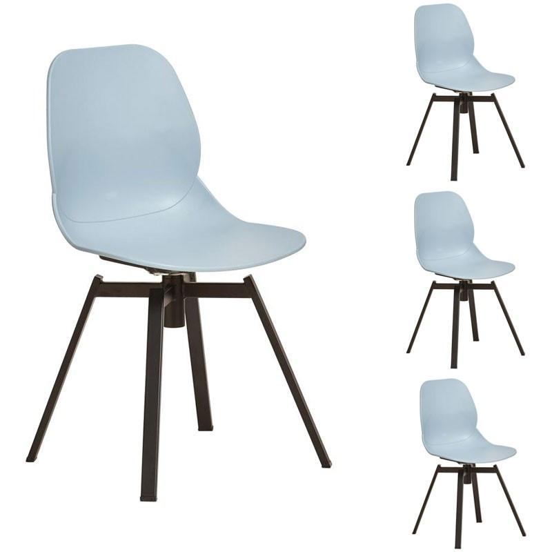 Quatuor de chaises Bleu clair - DIXON