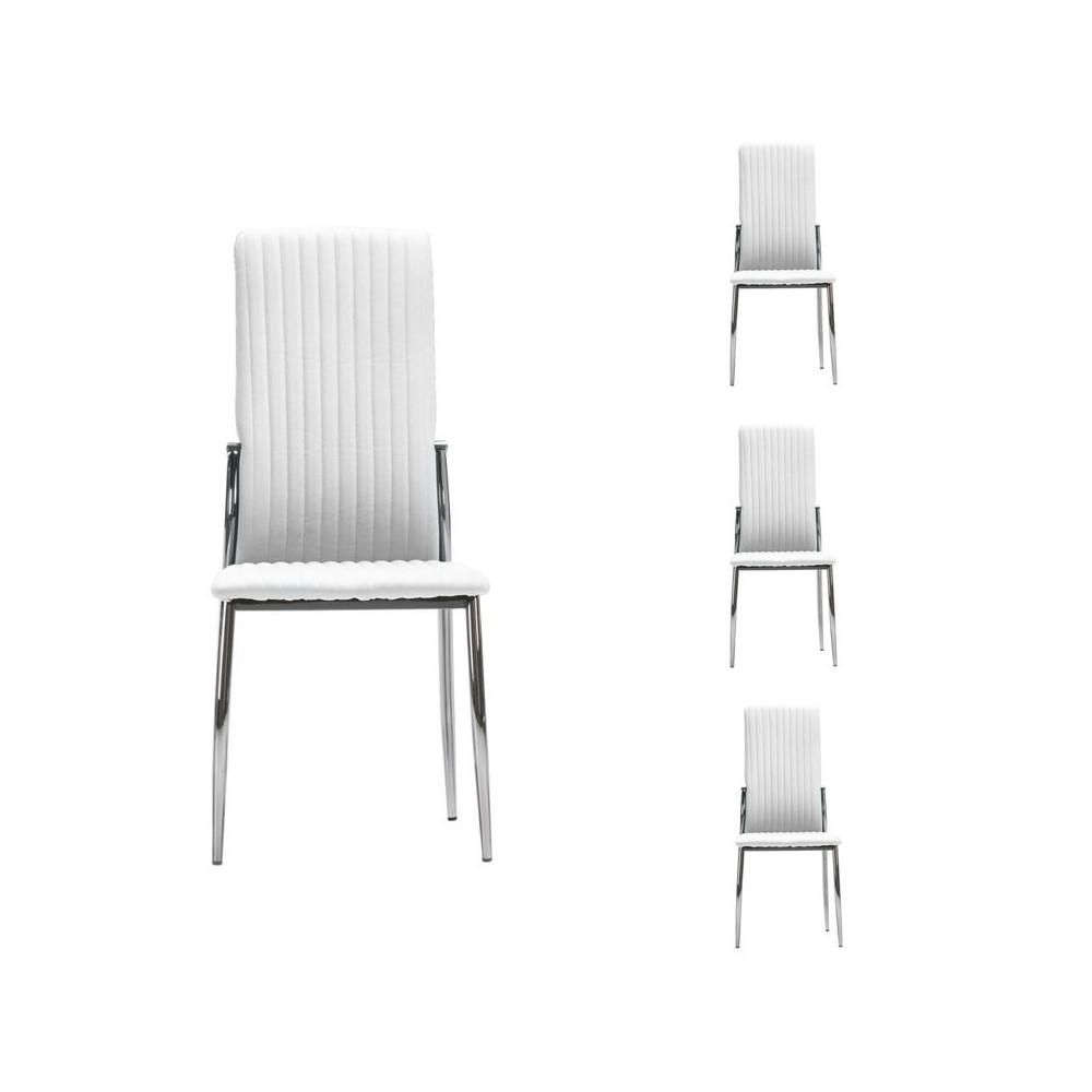 Quatuor de chaises Simili cuir Blanc - MERLAIN