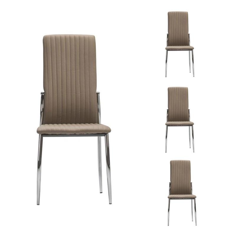 Quatuor de chaises Simili cuir Cappuccino - MERLAIN
