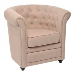 Fauteuil Chesterfield beige - CHELSEA