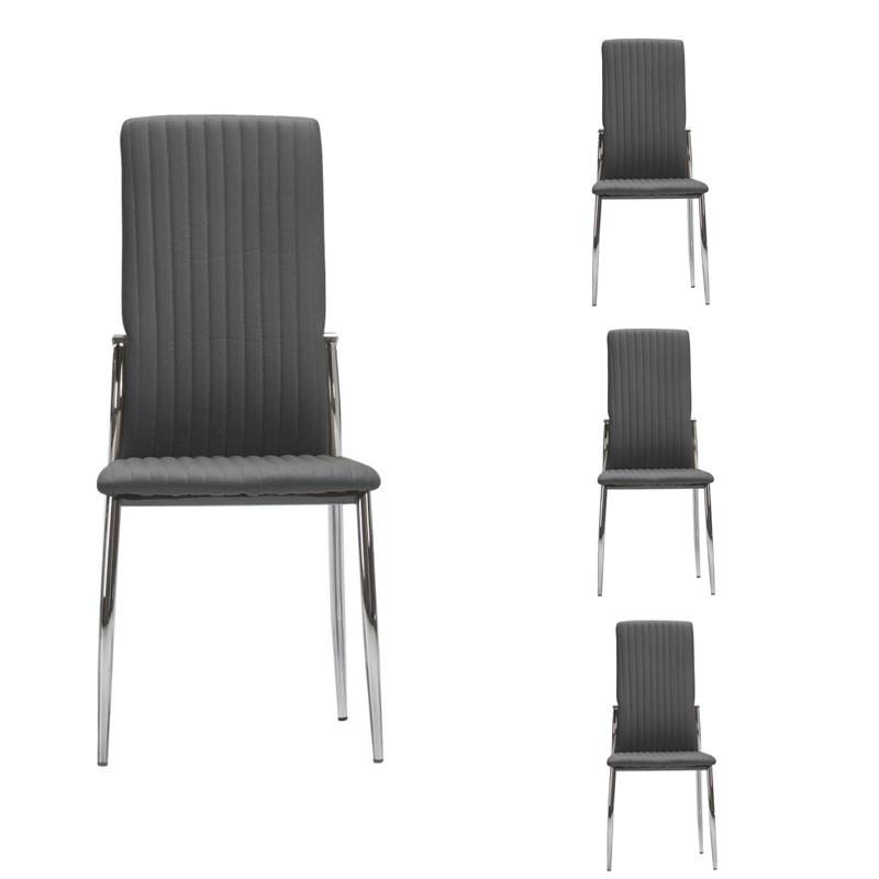 Quatuor de chaises Simili cuir Grises - MERLAIN