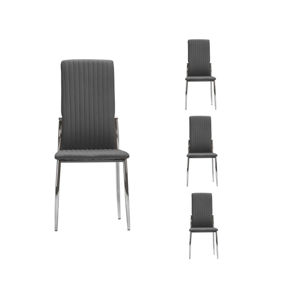 Quatuor de chaises Simili cuir Gris - MERLAIN