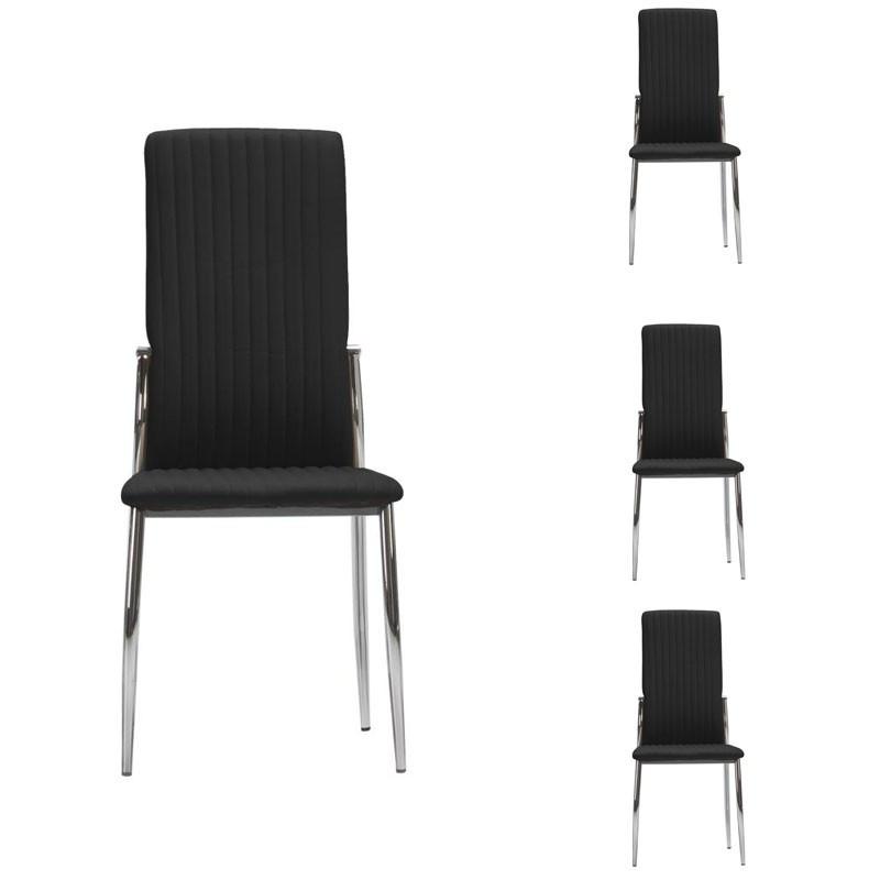 Quatuor de chaises Simili cuir Noir - MERLAIN