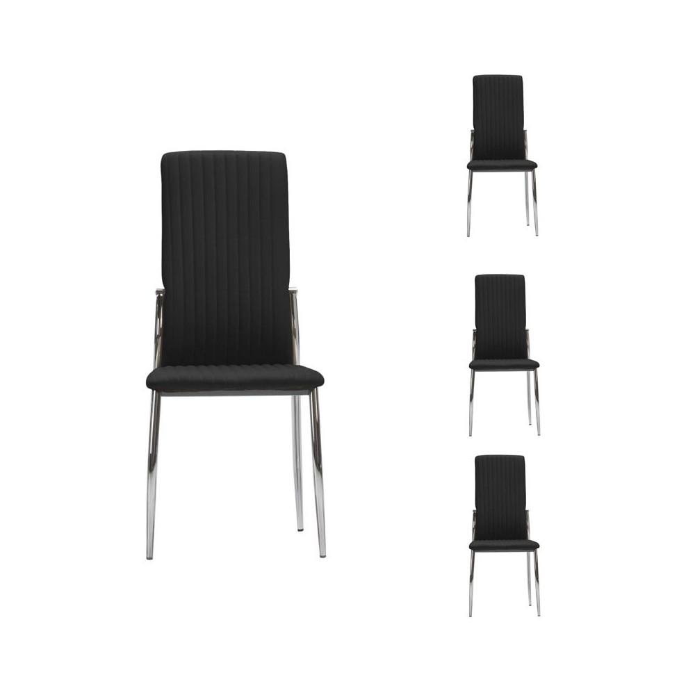 Quatuor de chaises Simili cuir Noires - MERLAIN