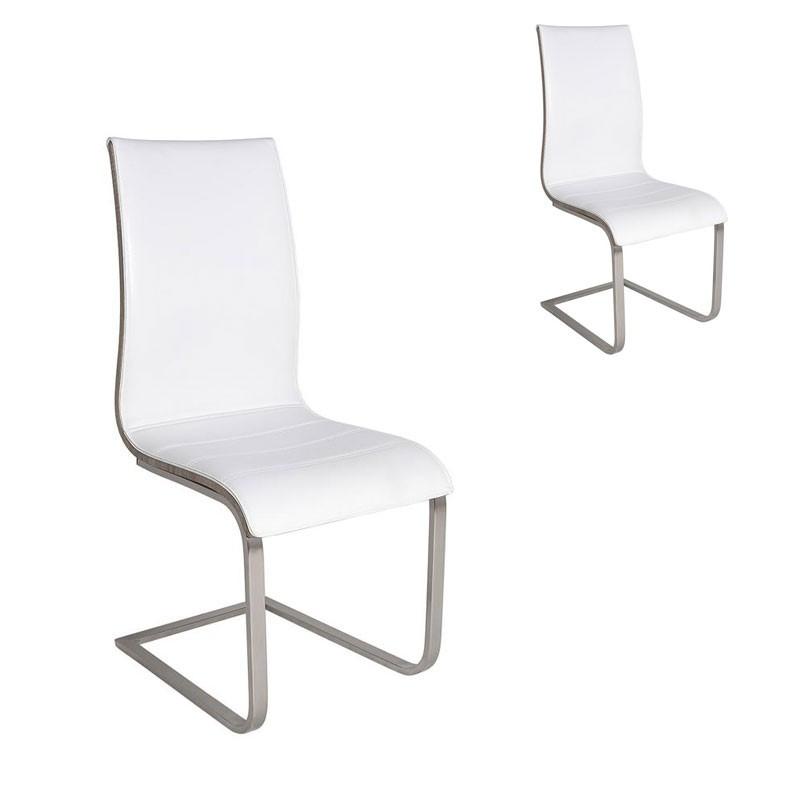 Duo de chaises Simili Cuir Blanc - ADICUS