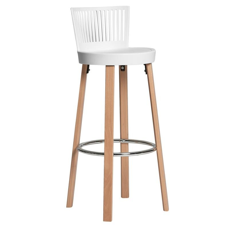 Duo de chaises de bar blancs pieds bois rause univers des assises for Chaise bar blanc bois