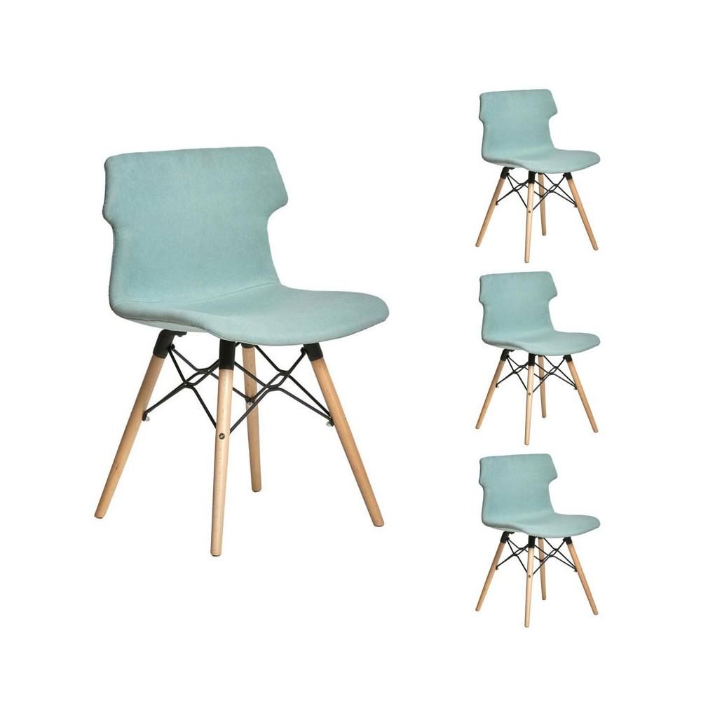 quatuor de chaises tissu vert d 39 eau ceorah univers des. Black Bedroom Furniture Sets. Home Design Ideas