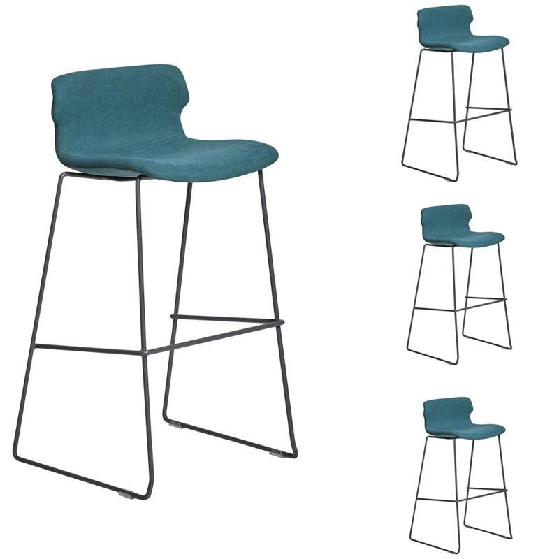 Quatuor de Chaises de bar tissu Turquoise - CEORAH