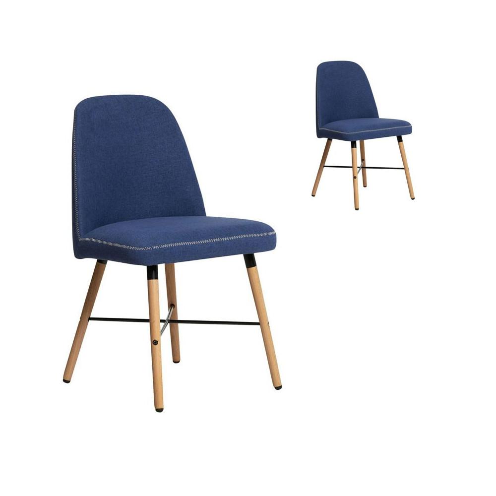Duo de Chaises en tissu Bleu Azur - ELINA